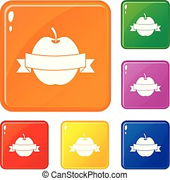 Apple with ribbon icons set vector color