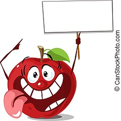 apple with sign board hold in hand vector cartoon illuistration flat design