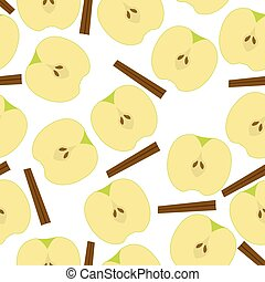 Apple with sinnamon seamless pattern.