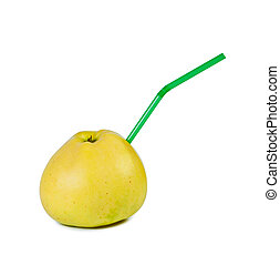 Apple with straw on white background.