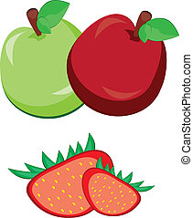 Apple with strawberry