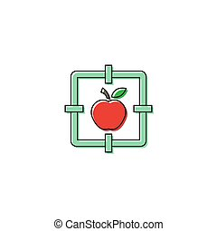 Apple with target vector icon symbol isolated on white background