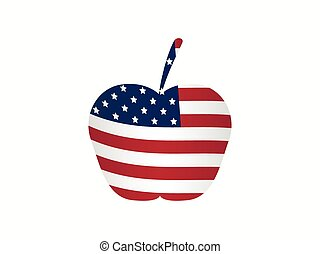 Apple with the American flag. Vector illustration