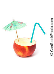 apple with umbrella and straw