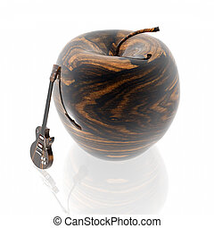 apple with wooden texture