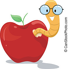 Illustration of a Nerdy Worm Crawling Out of an Apple