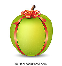 Apple wrapped with Ribbon