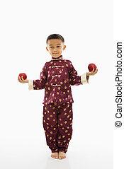 apples., 男の子, 保有物