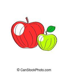 apples., 세트, 녹색 빨강
