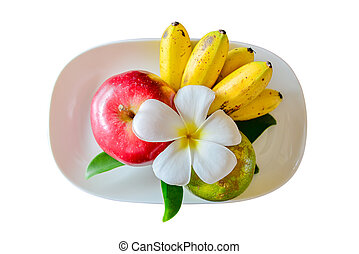 Apples and banana on white dish, isolated white background. top view, Clipping paths included