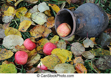 Apples and Bowl on Fallen Leaves