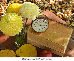 Apples and brown clock on books with beautiful flowers
