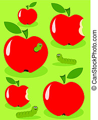 Red juicy glossy apples and green caterpillar feeding on them