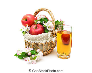 apples and glass of apple juice on white background