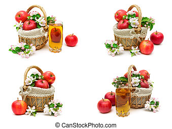 apples and glass of juice on a white background