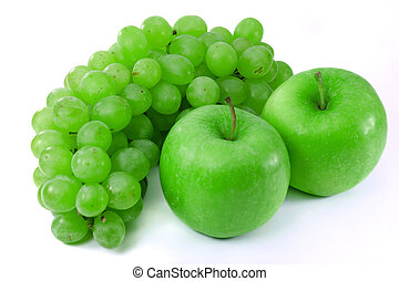 Apples and grapes on  white background