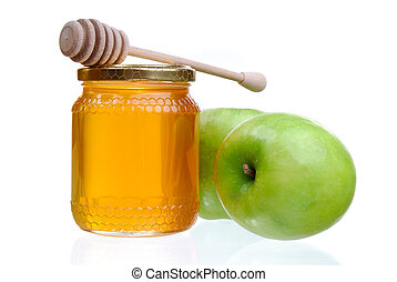 Apples And Honey - Green Apples And A Jar Of Golden Light...