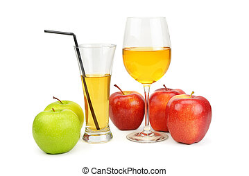 apples and juice in a glass