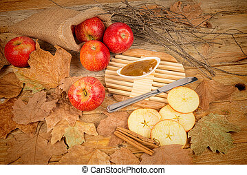 Apples and marmalade in an autumn stil llife