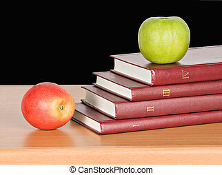 apples and open book
