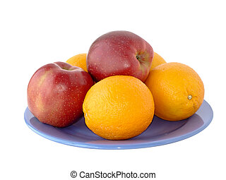 Apples and oranges on a plate