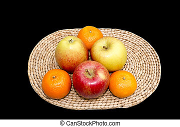 Apples and Oranges on a Table Mat