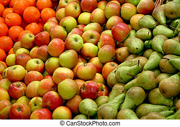 A bunch of fresh organic apples and peaches