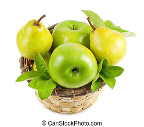 Apples and pears in a basket