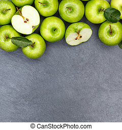 Apples apple fruit fruits copyspace square slate green top view