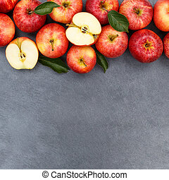 Apples apple fruit fruits slate copyspace square red top view