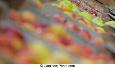 apples at the supermarket closeup