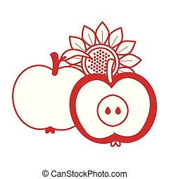 apples autumn fruits with sunflower seasonal icons