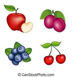 Apples, Blueberries, Cherries, Plums - Fresh, juicy garden...