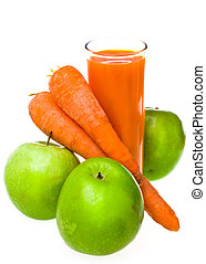 Apples, carrots and juice in a glass