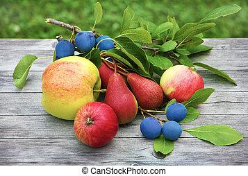 Apples, cherries, pear