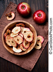 Apples chips, top view