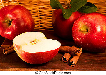 Apples, cinnamon - Still life with red apples and cinnamon ...