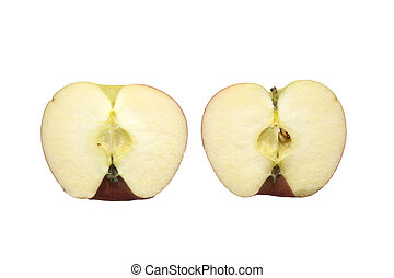 Apples cut in half on a white background