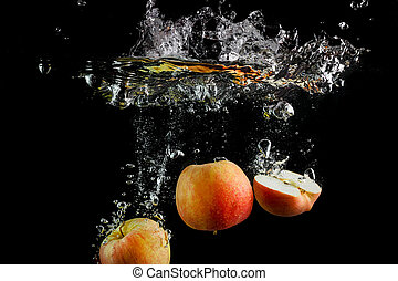 Fresh apples in water