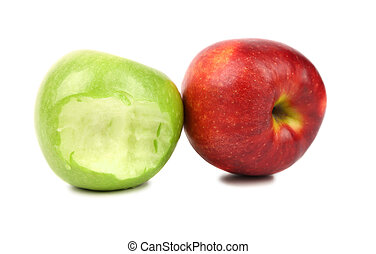 Apples. Green bitten and red.