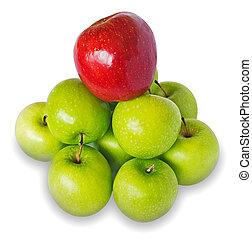 Apples heap - Heap of green apples with the red one on the...