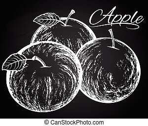apples illustration on the chalkboard background