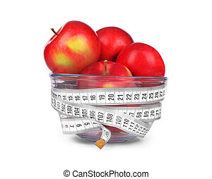 apples in a glass bowl on white background