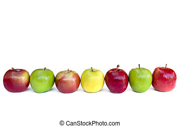 Apples in a row, isolated on white. Includes fuji, granny ...