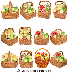 Apples in a wooden basket isolated on a white background.