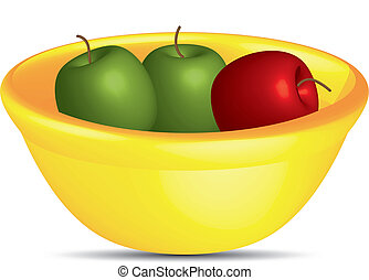 Apples in a yellow bowl,vector - Red and green apples in a...