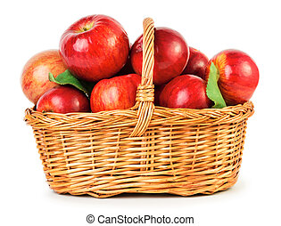 Apples in basket - Fresh ripe apples in basket isolated on...