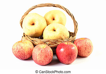 Apples in basket on a white background