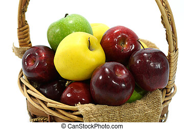 Apples in basket on a white background.
