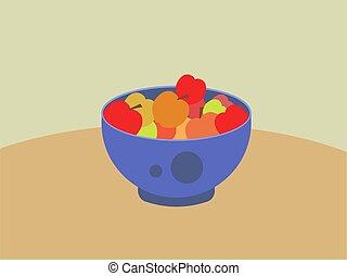 Apples in bowl, illustration, vector on white background.